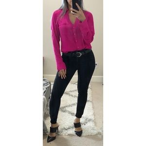 Express Hot Pink Portofino Shirt XS